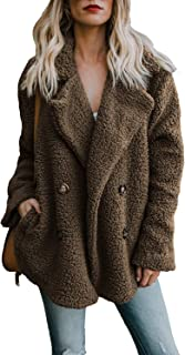 cb6d81804c7 Womens Winter Open Front Fleece Coat Cardigan Button Solid Jacket Outwear  with Pockets