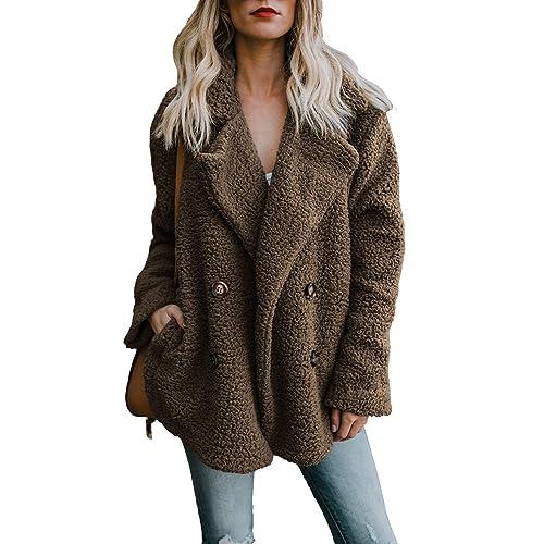 8550f58e29c FIYOTE Womens Fuzzy Fleece Open Front Cardigan Coat Outwear with Pockets
