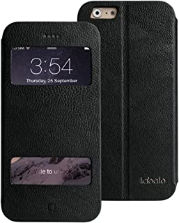 iPhone 6 Case, Labato Genuine Leather Stand Case Magnetic Cases/Covers Compatible with IOS8 Fold Stand&Window Open Case+10...