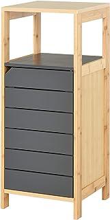 HOMCOM Meuble Colonne Rangement Salle de Bain Style Cosy dim. 32L x 30l x 80H cm Porte étagères Niche Bambou Gris