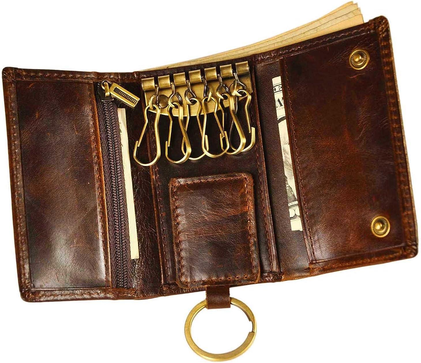 Le'aokuu Mens Genuine Leather Car Key Case Loop Hook Coin Case Cover Wallet Snap