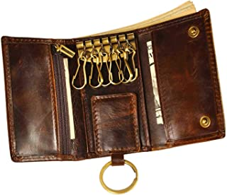 Mens Genuine Leather Car Key Case Loop Hook Coin Case Cover Wallet Snap