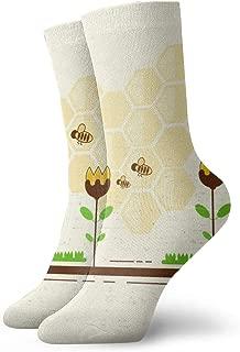 PengMin Cartoon Hornets Over Flowers Leisure Cotton Socks Men and Women Sports Socks