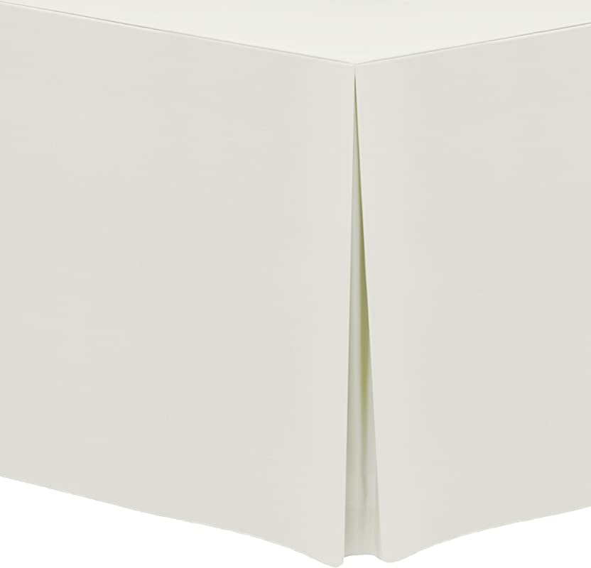 Ultimate Textile 5 Pack 6 Ft Fitted Polyester Tablecloth Fits 30 X 72 Inch Rectangular Tables 42 H Ivory Cream