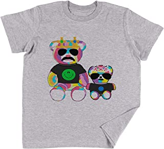 Vendax Arcobaleno Orso con Camicie Bambini Ragazzi Ragazze Unisex Maglietta Bianca