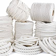 GOLBERG Twisted 100% Natural Cotton Rope - White Cotton Rope - (1/4 Inch x 100 Feet)