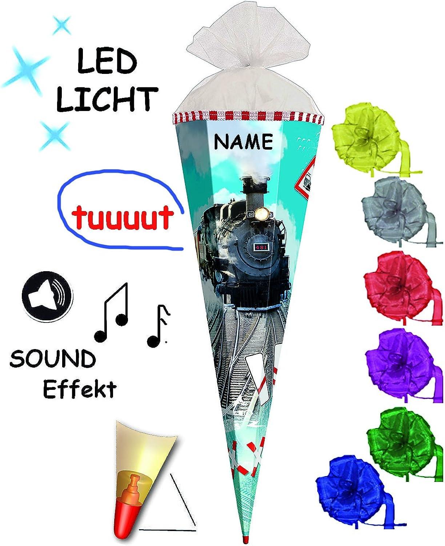 Alles-meine  GmbH mit Sound Effekt & LED Licht Licht Licht   - Schultüte -  Eisenbahn - Lokomotive  - 85 cm - 6 eckig - incl. Namen und Schleife - Organza Abschluß - Zuckertüte Roth - mi.. B01FXXER66  | Modern Und Elegant  e32ea4
