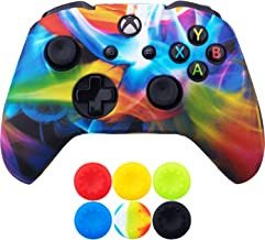 9CDeer 1 Piece of SiliconeTransfer Print Protective Cover Skin + 6 Thumb Grips for Xbox One/S/X Controller Rainbow