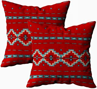 Capsceoll 2PCS Southwest Red Outdoor Throw Pillow Case 18X18Inch,Home Decoration Pillowcase Zippered Covers Cushion for Sofa Couch