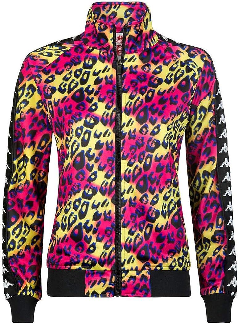 Kappa Womens 222 Banda Wanniston Graphic Jacket - Green Lime/Fuchsia Leopard Graphik - Large