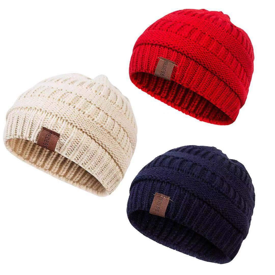 Kid Baby Autumn Winter Warm Cotton Hat Hairball Soft Knit Beanies Braid Caps New