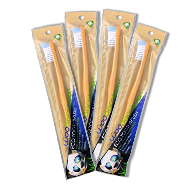 Bamboo Toothbrush 4 Pack - Adult - Super Soft BPA Free Nylon Bristles - Eco-Friendly, Biodegradable, Compostable, Vegan by WooBamboo!