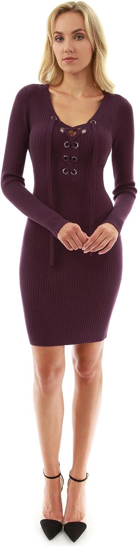 PattyBoutik Women's Lace up Ribbed Sweater Dress