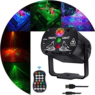Stage Laser and led Lights KisMee DJ Disco Projector Party Lights Sound Activated Time Function with Remote Control for Xm...