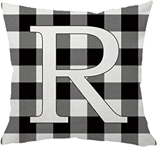 HANGOOD Alphabet Letter R Decorative Throw Pillow Covers 18x18 Buffalo Check Plaid Black and White Cotton Linen Cushion Cover 45cm x 45cm R