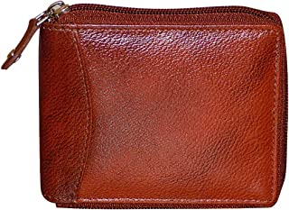 Style98 Pure Leather Bombay Brown Zipper Wallet for Men