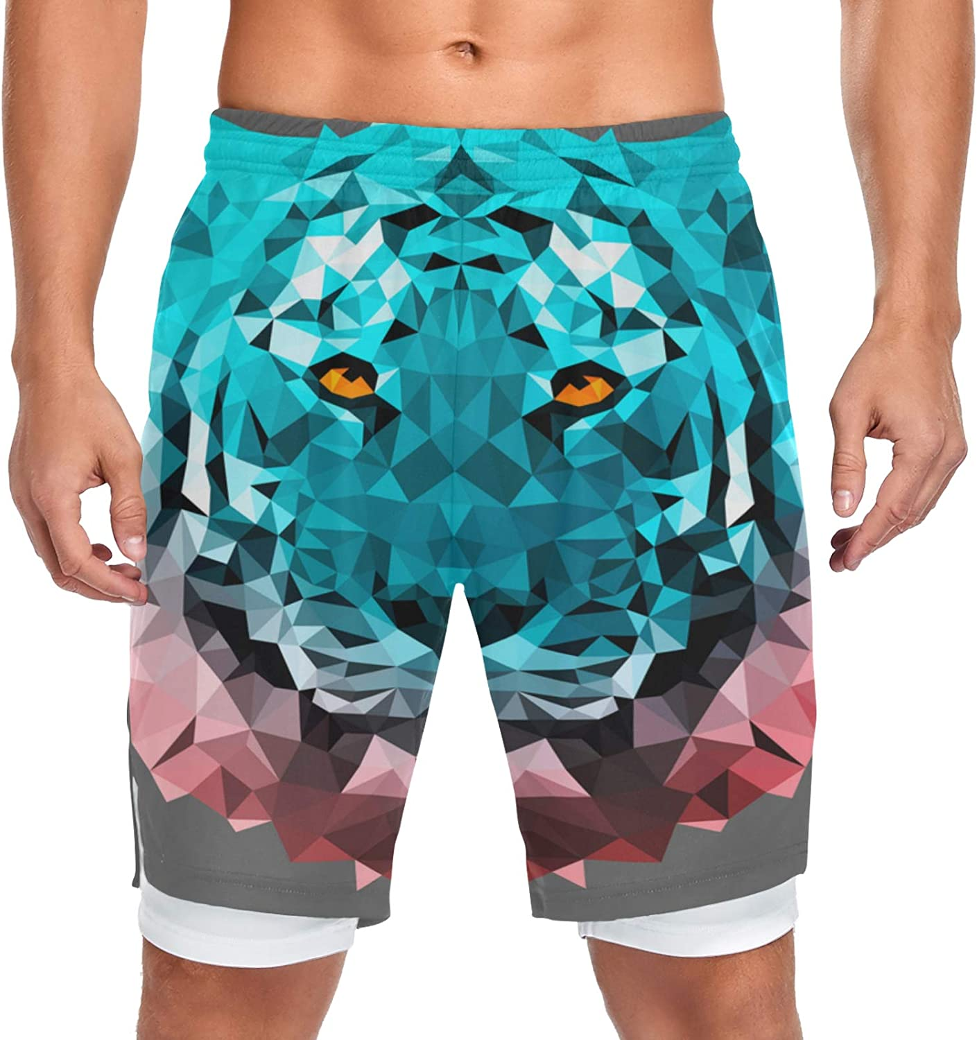 Running Branded goods Shorts Bengal Tiger Low Portrait Men Large-scale sale Train Poly Gradient