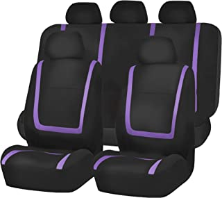 FH Group FB032115 Unique Flat Cloth Seat Covers, Purple/Black Color- Fit Most Car, Truck, SUV, or Van