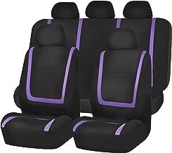 FH Group FB032115 Unique Flat Cloth Seat Covers, Purple/Black Color- Fit Most Car, Truck, SUV, or Van