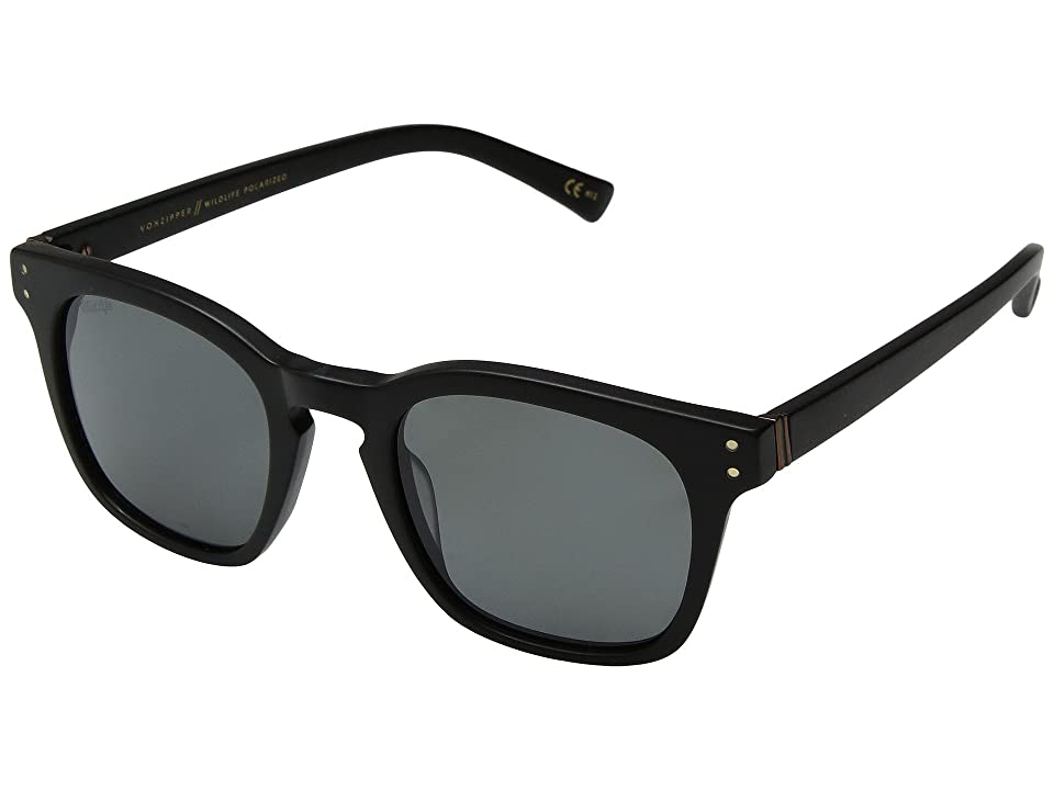 VonZipper Morse Polarized (Black Satin/Wild Vintage Grey Polar) Athletic Performance Sport Sunglasses