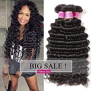 VRBest Brazilian Deep Wave 100% Unprocessed Virgin Brazilian Hair 3 Bundles Deep Curly Human Hair Extensions Natural Color (18 20 22)