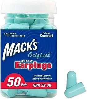 Mack's Original Soft Foam Earplugs, 50 Pair - 32dB Highest NRR, Comfortable Ear Plugs for Sleeping, Snoring, Work, Travel and Loud Events