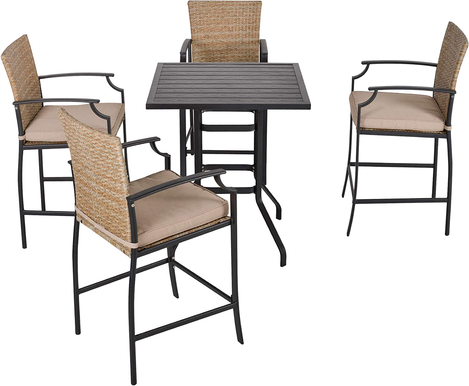 Sales results No. 1 2021 new Outsunny 5-Piece Rattan Bar Table and Chairs with Padded 4 Cushi