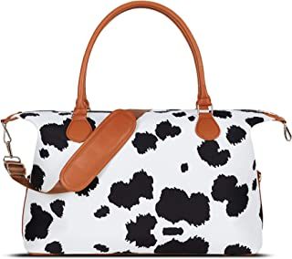 MONOBLANKS Cow Weekender Duffle Overnight Bag With Shoulder Strap Canvas Leather Travel Totes Duffel Bag (Cow(Small Size))