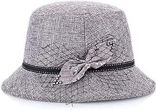 HongJie Hou Hat Ladies Spring Summer Fashion Linen Shade hat (Color : Grey, Size : M56-58cm)