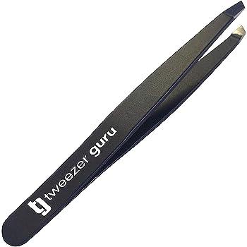 Tweezer Guru Precision Slant Eyebrow Tweezers for Women & Men - Professional Stainless Steel Tweezers for Eyebrows, Facial Hair & Ingrown Hair Removal (Black)