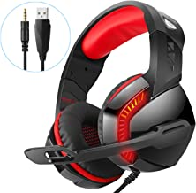 Stereo 7.1 Surround Sound 3.55mm Gaming Headset,for PS4 Xbox One PC Controller Nintendo Switch Games,PHOINIKAS H3 Noise Cancelling Headphones,Over Ear Headphones with Mic LED Light (Red)