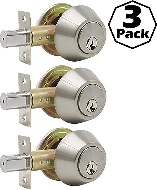 Gobrico 3 Keyed Alike Satin Nickel Keyed Single Deadbolts Door Locks with Same Key,Thumb-Turn Button Inside