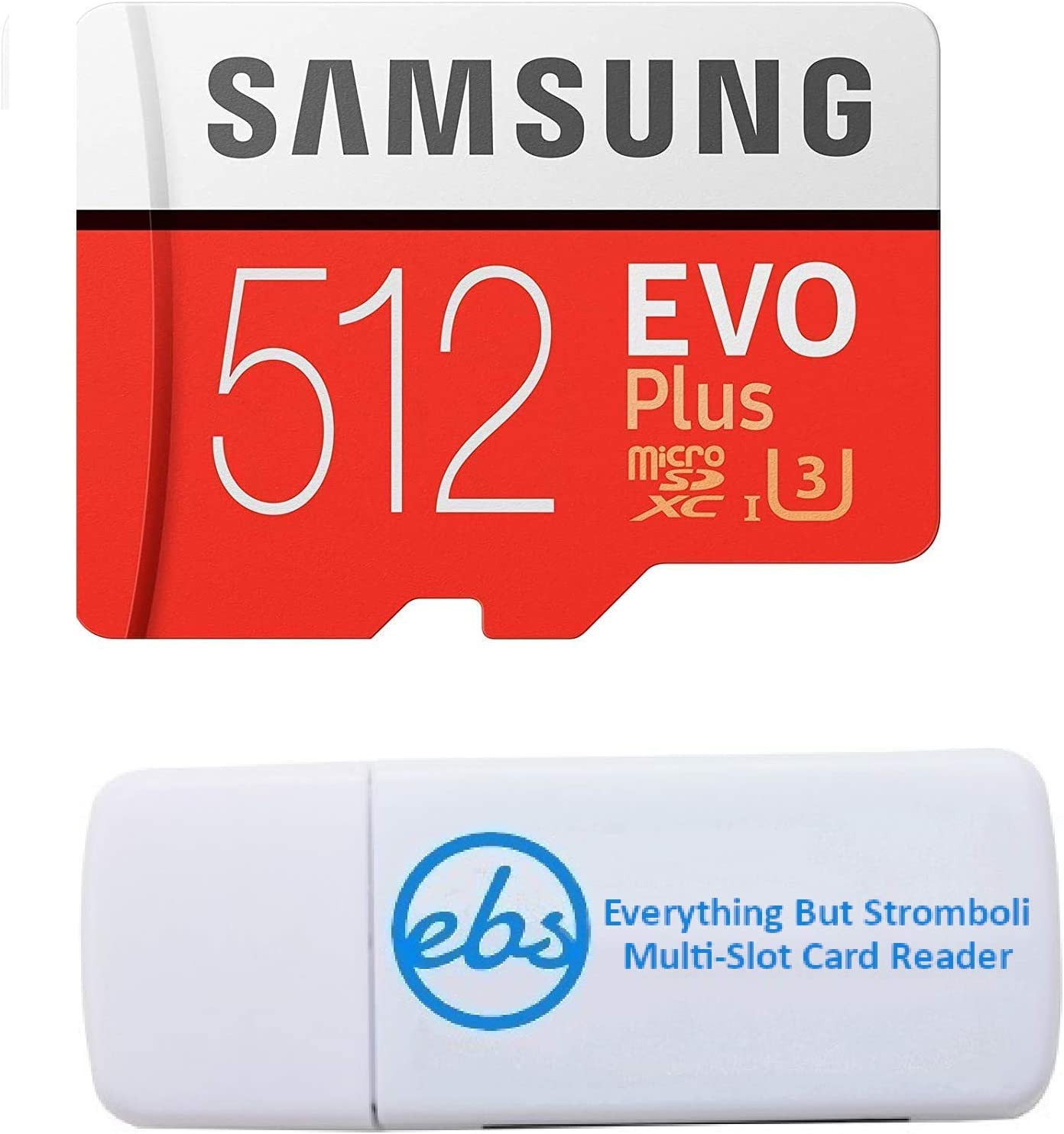 Samsung 512GB Micro SDXC EVO+ Plus Memory Card for Samsung Phone Works with Galaxy S20 Fan Edition, S20 FE 5G Cell Phone (MB-MC512G) Bundle with (1) Everything But Stromboli SD & MicroSD Card Reader