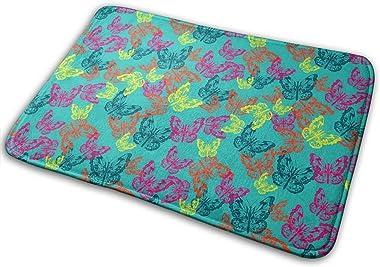 Butterflies in Bright Colors Carpet Non-Slip Welcome Front Doormat Entryway Carpet Washable Outdoor Indoor Mat Room Rug 15.7