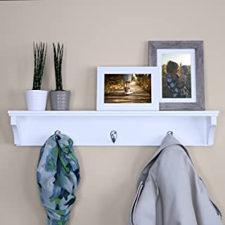 """Ballucci Wooden Wall Mounted Hat and Coat Rack Shelf with 3 Metal Hooks, Simple Entryway Hallway Storage Display Stand, 24"""", White"""