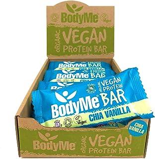 BodyMe Organic Vegan Protein Bar | Raw Chia Vanilla | 12 x 60g Vegan Protein Snack Bars | Gluten Free | 16g Complete Prote...