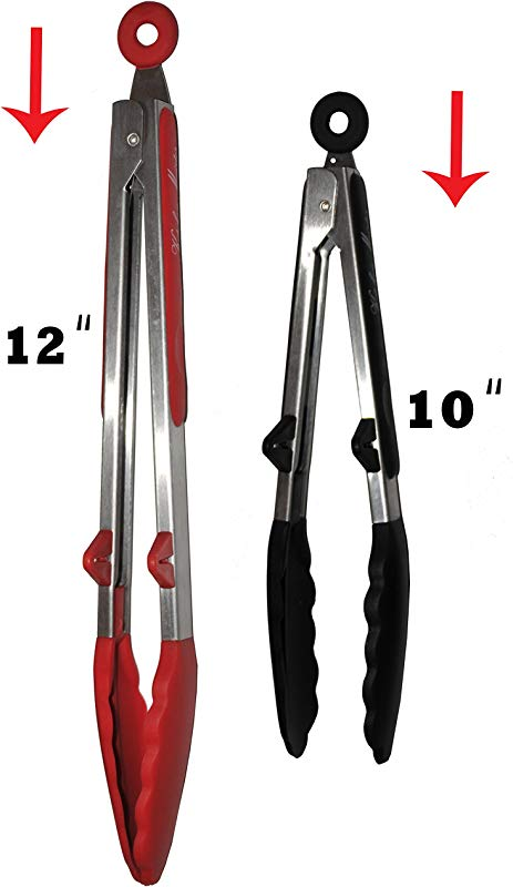Kitchen Meister Silicone And Stainless Steel Kitchen Tong Set 1 Red 12 L Tong And 1 Black Tong Set Of 2