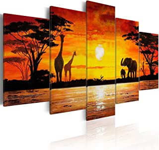 Konda Art Elephant Giraffe Family Canvas Prints Wall Art Animals Paintings Reproduction Pictures for Bedroom 5 piece Framed African Sunset Landscape Artwork (Hot Safari, 80