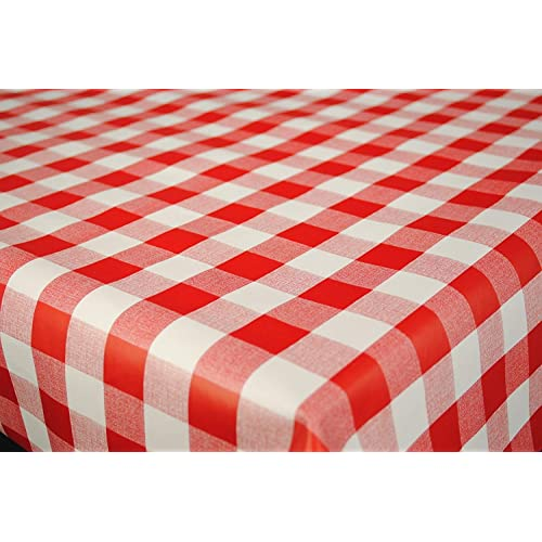 """Round Wipeable OILCLOTH 1/"""" Red Gingham Check Wipe Clean Vinyle TABLECLOTH CO"""