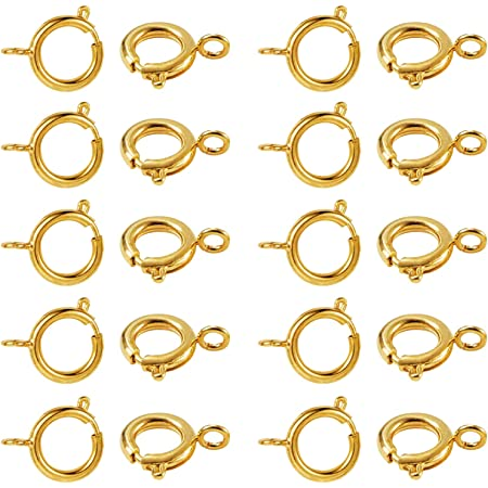 Brass Round Clasp CLP-46 2 Pcs 14 mm Rose Gold Plated Round Spring Clasp