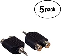 InstallerParts (5 Pack 3.5mm Stereo Plug to Dual RCA Jack Adapter