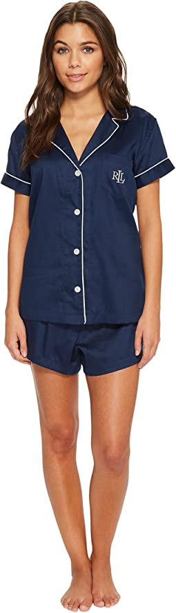 LAUREN Ralph Lauren Short Sleeve Notch Collar Boxer PJ Set