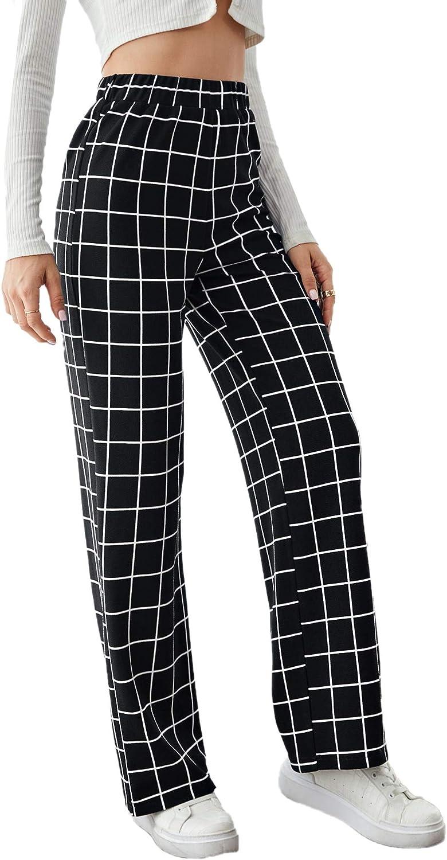 SheIn Women's Plaid High Elastic Waist Pants Casual Work Office Long Trousers