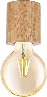 EGLO Lámpara de techo Turialdo, 1 foco, lámpara de techo industrial, vintage, moderna de madera y acero, lámpara de techo en color natural, negro, lámpara de construcción con casquillo E27