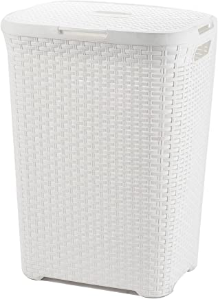 ARPAN 60 Liters Plastic Laundry Basket Hamper Storage Rattan-Look with Lid & Insert Handles, White, W44 x D34 x H61 cm
