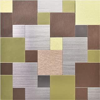Art3d Peel and Stick On Metal Steel Backsplashes, Multi Color Metal Square (5 Tiles)