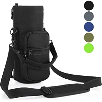 Barbarians Water Bottle Carrier, Bottle Pouch Holder with Adjustable Shoulder/Hand Strap 2 Pockets for Swell Type Bottle 16oz 17oz 20oz 24oz 25oz 32oz 40oz, Suitable for Hiking Travel Camping