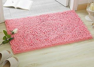 """ChezMax Chenille Non-Slip Indoor Outdoor Hello Doormat Large Small Inside Outside Front Door Mat Carpet Floor Rug Pink 16""""..."""