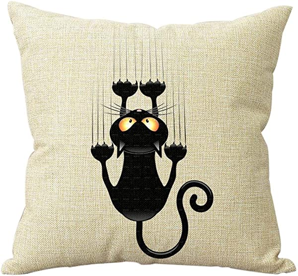 Cotton Linen Climbing Cat Decorative Throw Pillow Case Cover Cat Cushion Cover Case 1818 New Design Decor Square