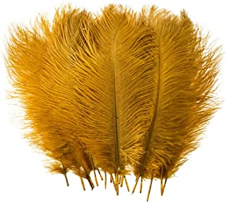 10pcs Real Natural Ostrich Feathers for Home Decoration DIY Craft (Gold, 12-14 inches (30-35cm))